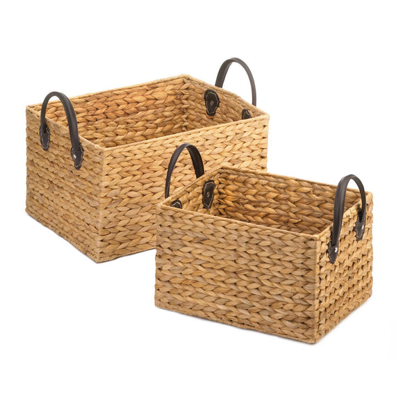 WICKER STORAGE BASKET DUO