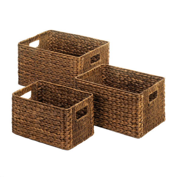 BROWN WICKER BASKET TRIO