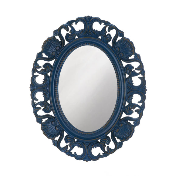 BLUE SCALLOP WALL MIRROR
