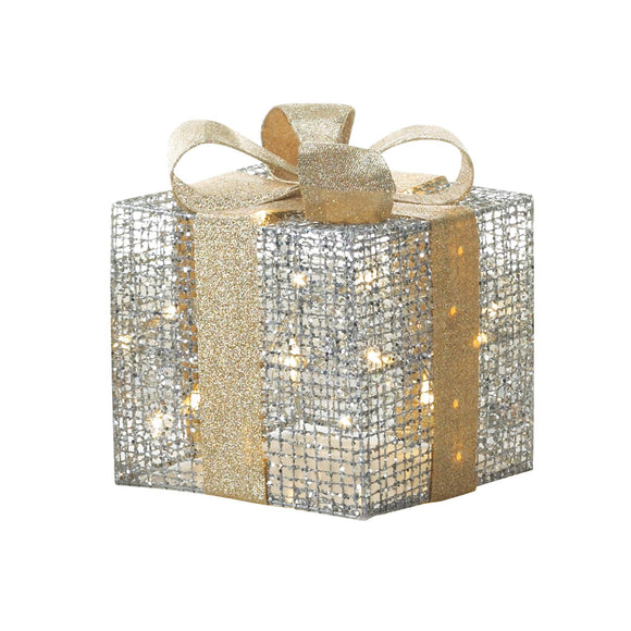SMALL LIGHT UP GIFT BOX DECOR