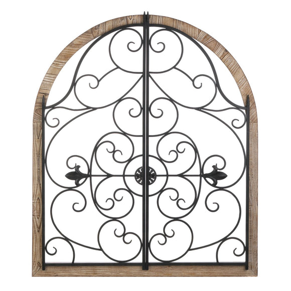 Arched Wood and Iron Wall Decor