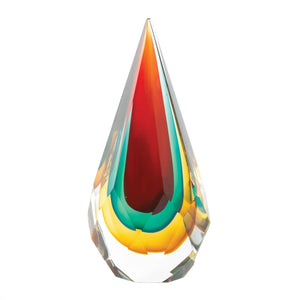 Faceted Teardrop Art Glass