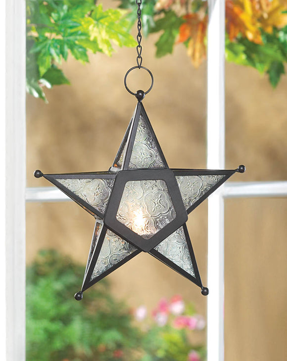 CLEAR GLASS STAR LANTERN