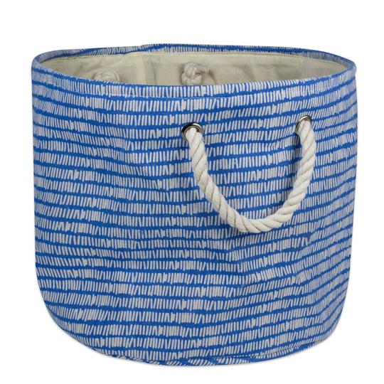 Storage Bin Keeping Score Bright Blue Round Medium 12