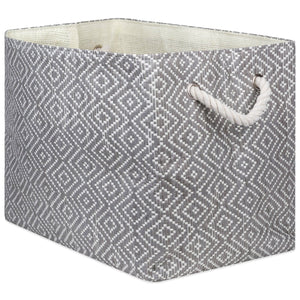 "Storage Bin Diamond Basket Weave Stone and Black Rectangle Medium 15""x 10""x 12"""