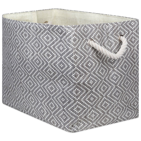 Storage Bin Diamond Basket Weave Stone and Black Rectangle Medium 15