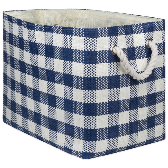 Storage Bin Checkers Navy Rectangle Large 17