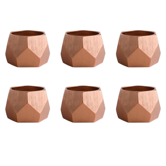 Copper Triangle Band Napkin Ring Set of 6