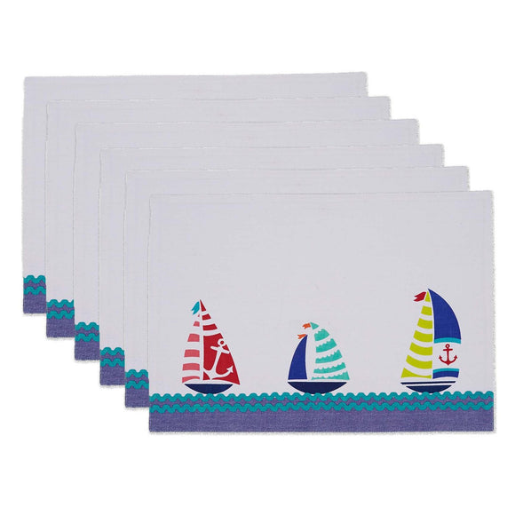 Sailboats Embossed Placemat Set of 6