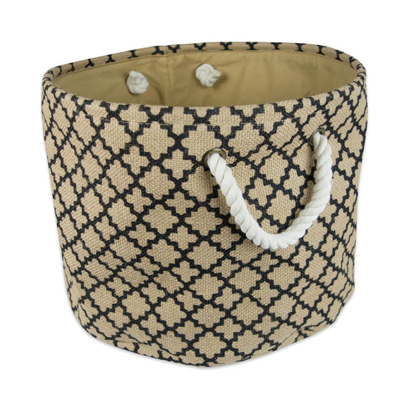 Burlap Storage Bin Lattice Black Round Large 15