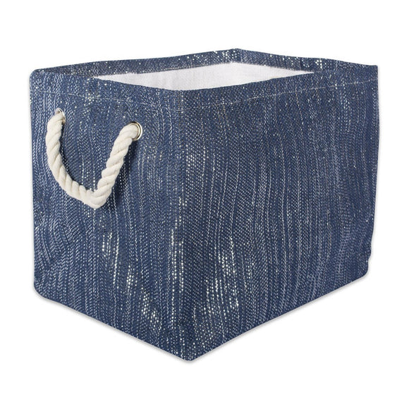 Storage Bin Lurex Nautical Blue and Silver Rectangle Large 17