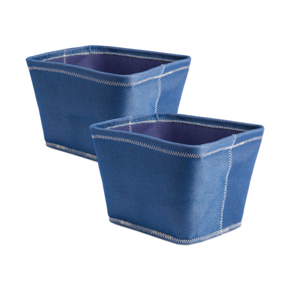 Storage Bin Zig-Zag Stitch Variegated Blue Trapezoid 12