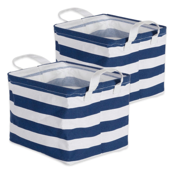 Laundry Bin Stripe Nautical Blue Rectangle Extra Small 8