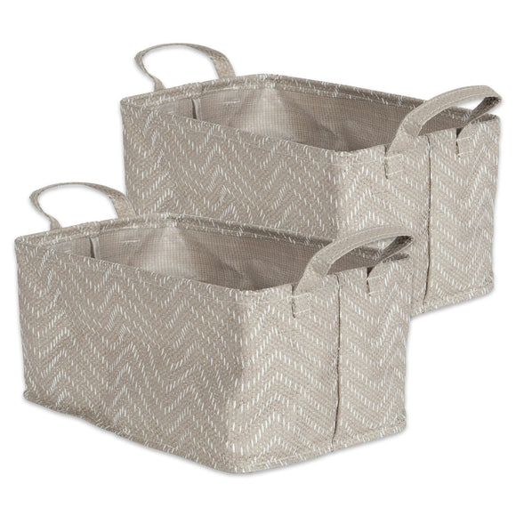Laundry Bin Tribal Chevron Stone Cream Rectangle Large 16
