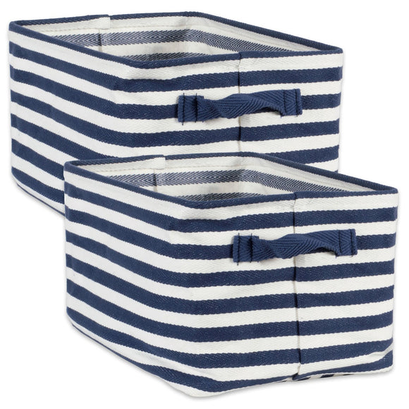 Laundry Bin Stripe French Blue Rectangle Large 16