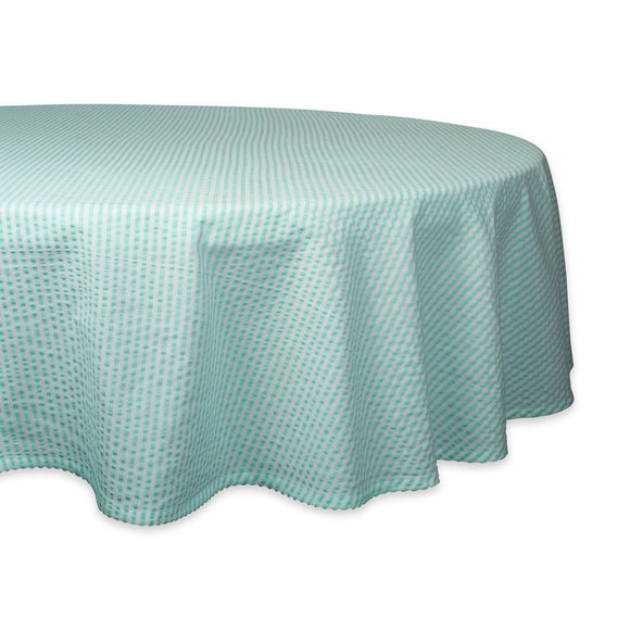 Aqua Seersucker Tablecloth 70