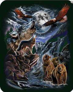 7 Hidden Wolves Officially Licensed Queen Size Faux FurTM Blanket