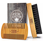 Boar Bristle Beard Brush and Comb Set