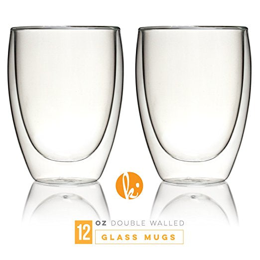 Set Of Two Double Walled Coffee or Tea  Glasses