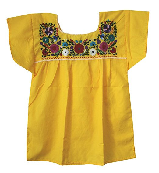 Yellow Embroidered Mexican Peasant Blouse