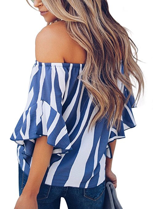 Stripe Off The Shoulder Bell Sleeve Tie-Knot Casual Blouse