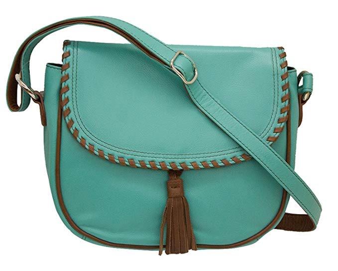 Charming Leather Whip-stitched Cross-body Handbag