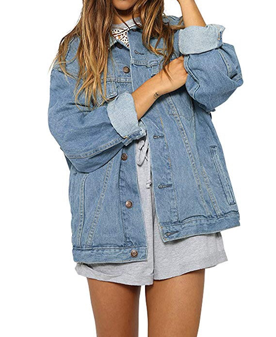 Women's Boyfriend Light Blue Washed Jean Jacket