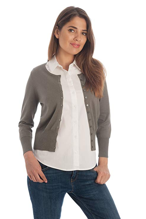 Women's Silk and Cotton Cropped Crew Cardigan