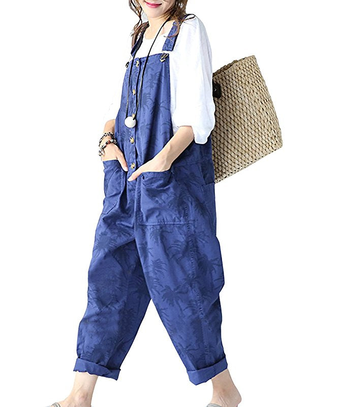 100% Cotton Distressed Boyfriend Wide Leg Bibs