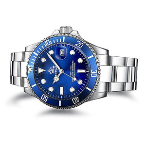Men's Sapphire Blue Stainless Steel Quartz Watch