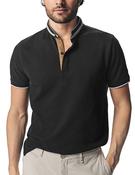 Classic Cotton Mesh Polo With Stand Collar And Suede Placket