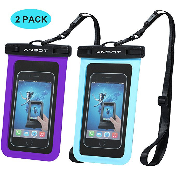 Universal Waterproof Cell Phone Dry Bag -  2 Pack