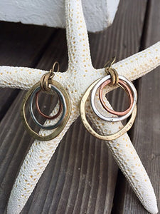 Beautiful Tri Metals Earrings Hand Crafted In USA
