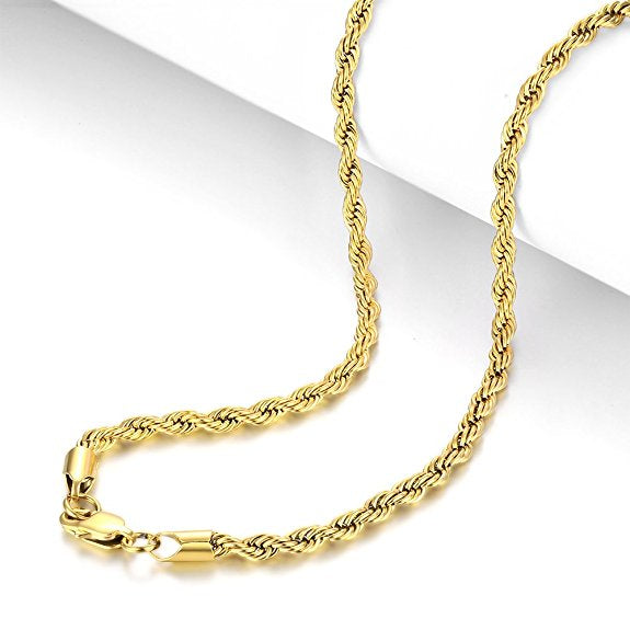 "22"" Guys / Gals 18K Gold Plated Twist Rope Chain"