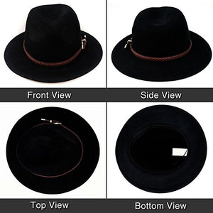 Black Unisex Australian Felt Hat With Leather Band