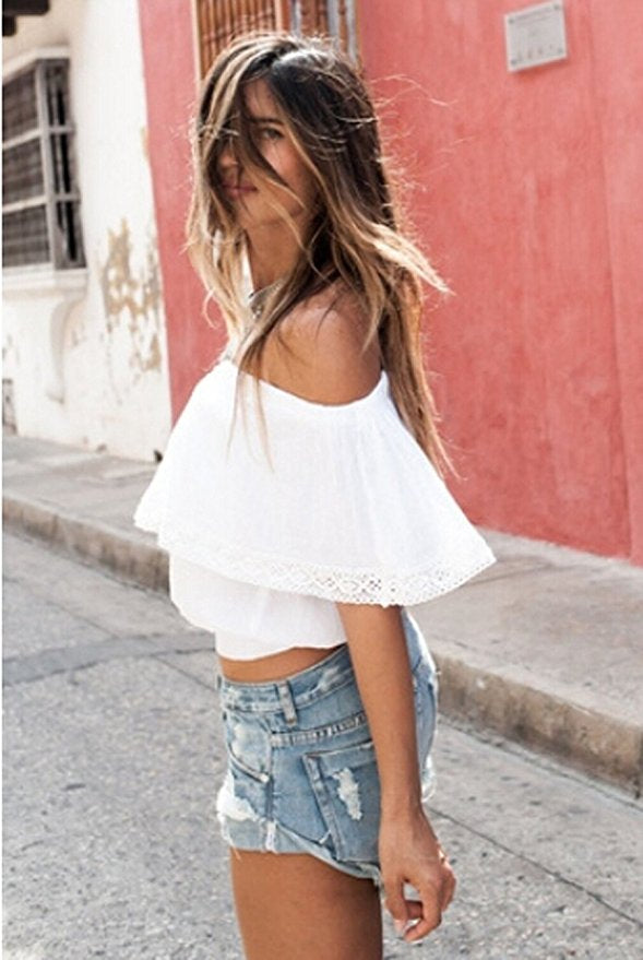 Women's Strapless Off The Shoulder Top