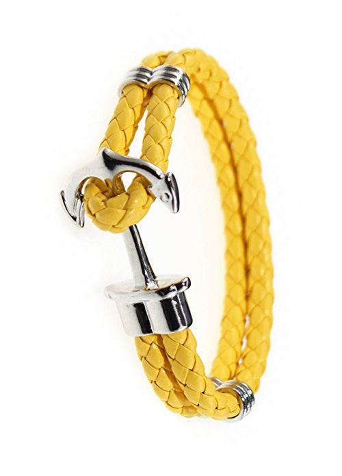 Yellow Leather Bracelet W/ Anchor Clasp