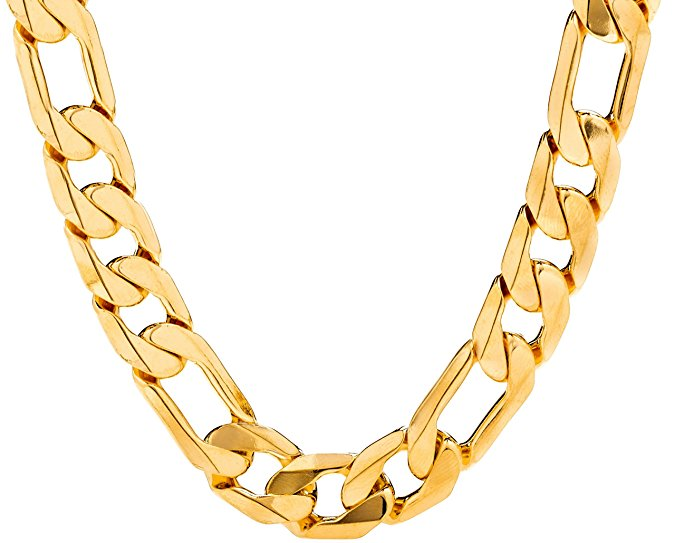 "30"" 11mm  24K Gold Overlay Figaro Chain"