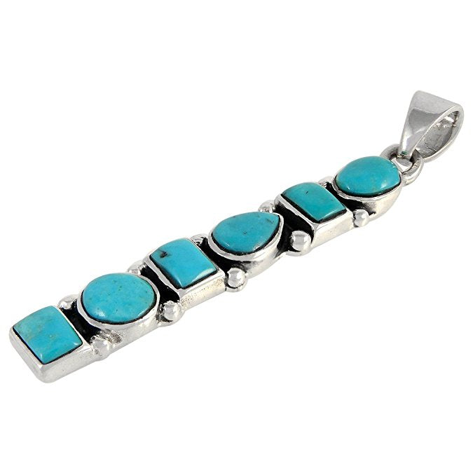 "Turquoise And Silver Pendant 20"" Snake Chain"