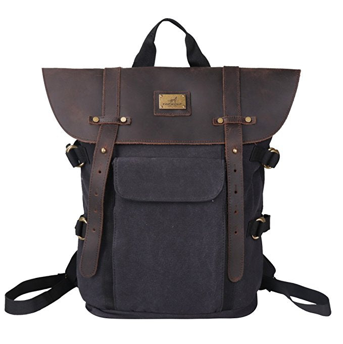 100% Genuine Leather & Canvas Laptop Backpack