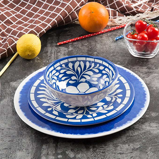 Colorful Melamine 12 Piece Dinnerware Set