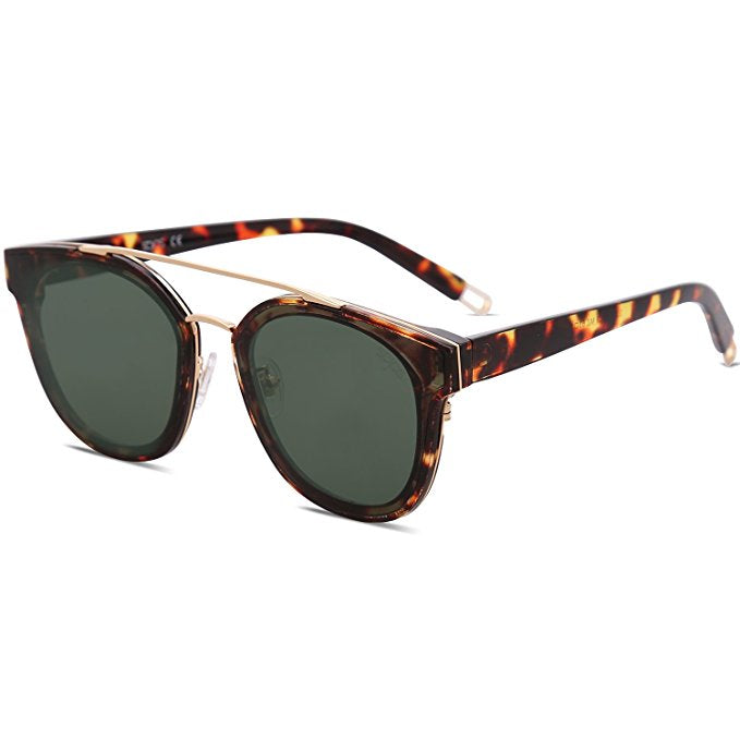 Unisex Metal Frame Mirrored Lens Sunglasses