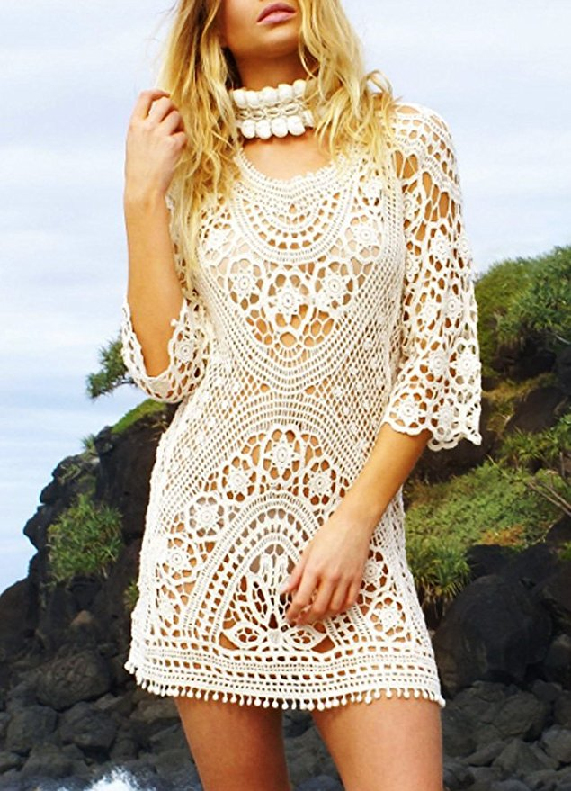 Off White Crochet Beach Cover Up
