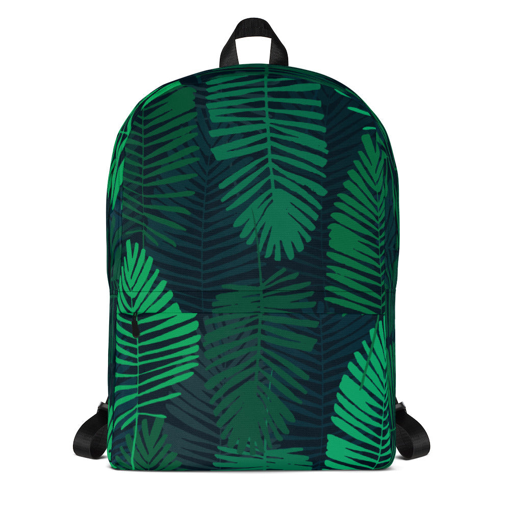 Green Jungle Leaves Water Resistant Backpack