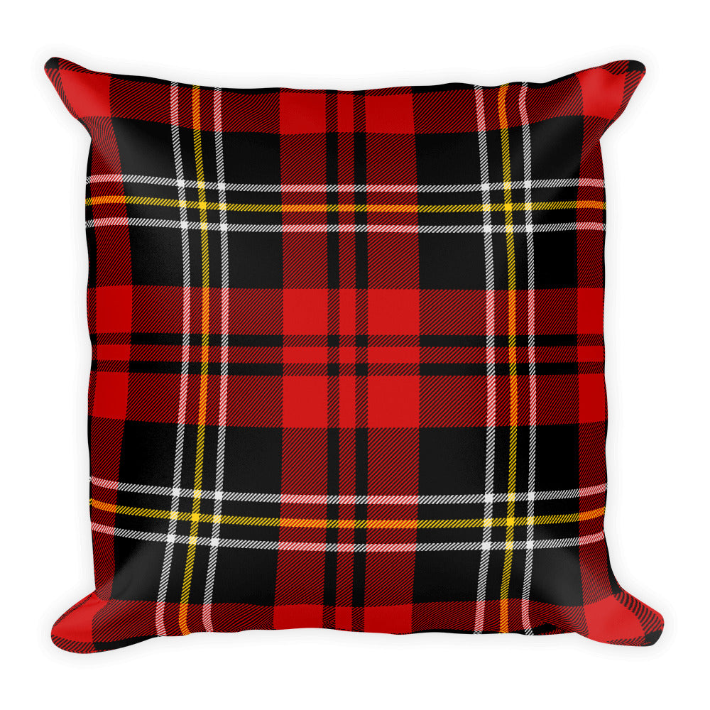 Red Tartan Plaid Square Throw Pillow