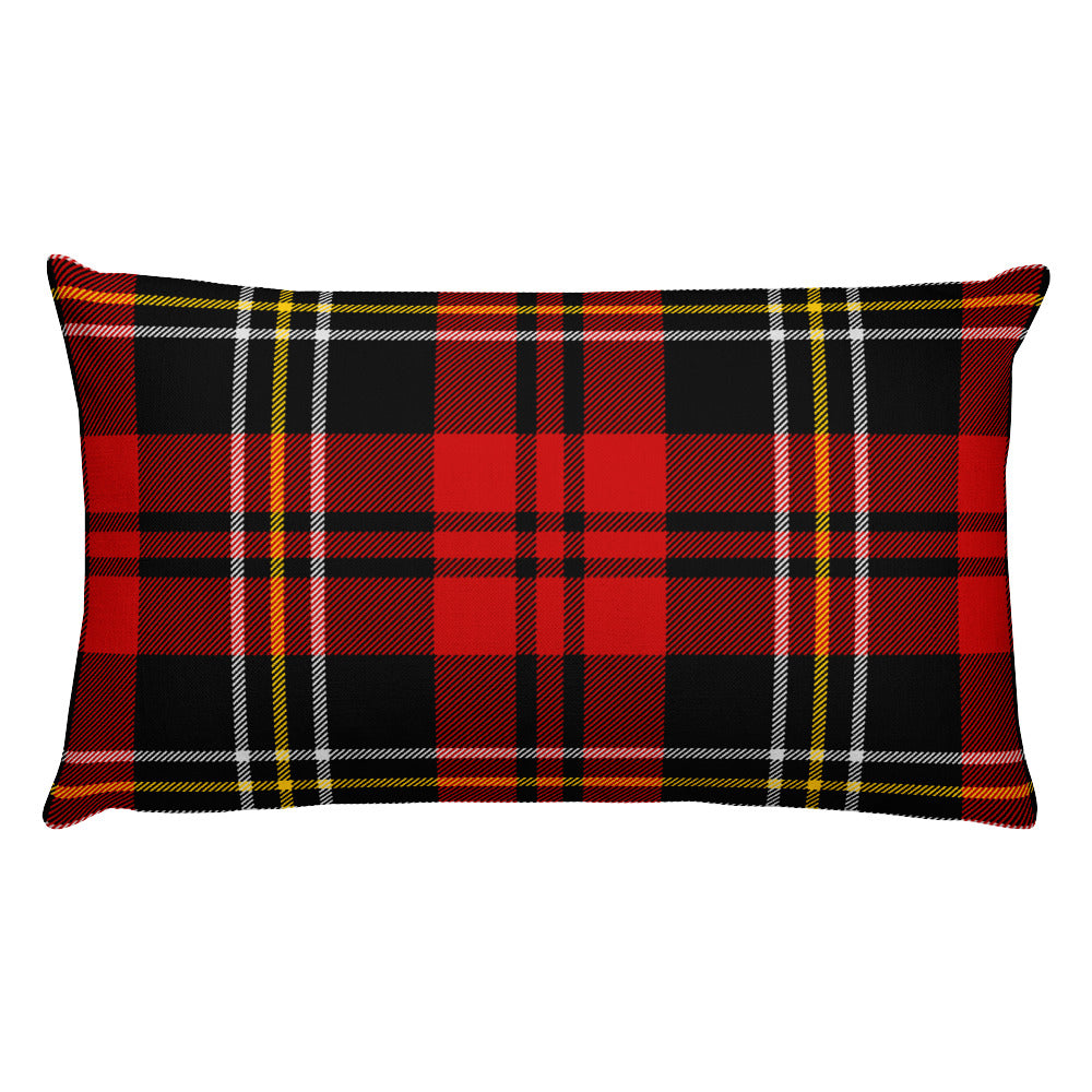Red Tartan Plaid Rectangular Throw Pillow