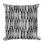 Black & White Leaf Square Throw Pillow
