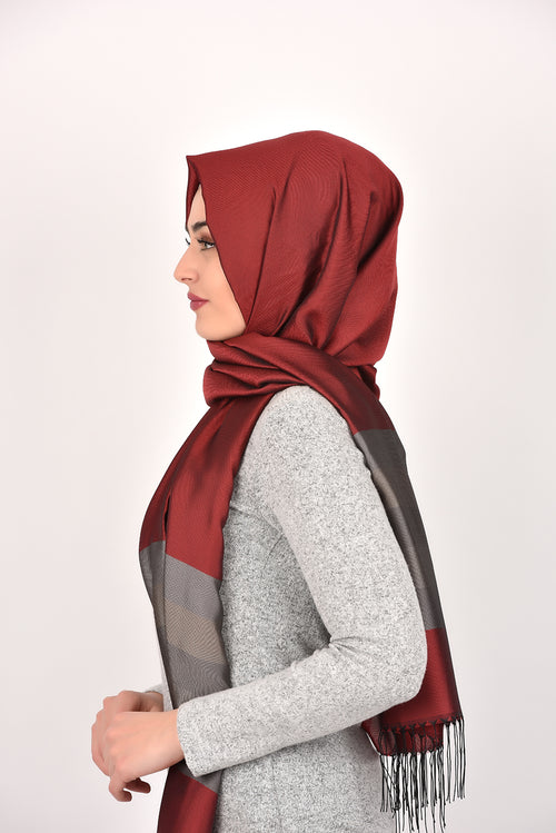 Dark Red Grayscale Shawl Armine Frend
