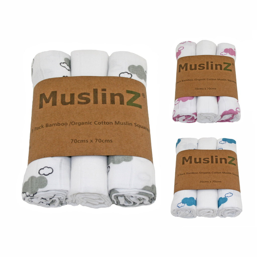3bf9dad83acdb Bamboo muslin squares. Packs of three. Cloud print. Choice of colours.