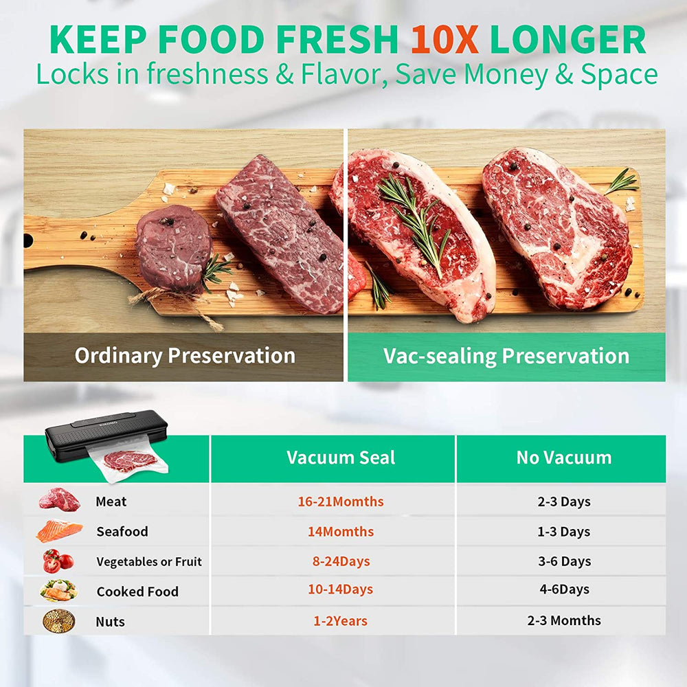 Upgrade Dual Pumps Automatic Vacuum Sealer Machine with Air Sealing System |One-Touch Operation |Led Indicator Lights |Dry Moist Food Modes |Starter Kit